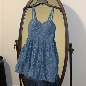 Denim polka dot mini dress